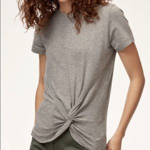 Aritzia Babaton Grey Foundation Knot Tee